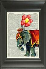 Original-cirque elephant vintage dictionnaire art imprimé-nursery wall art N.513Df