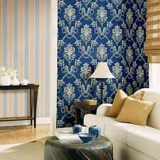Gray Damask Navy Blue Wallpaper Double Roll Bolts FREE SHIPPING