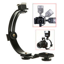 C Shape Twin Two Flash Light Bracket Stand for Photo DC DSLR Camera Camcorder