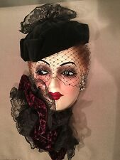 VINTAGE UNIQUE CREATIONS CERAMIC MASK, Woman's Face with Lace Collar & Hat