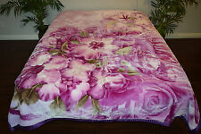 ☀️KING SUPER SOFT KOREAN MINK PLUSH FAUX THROW BLANKET PURPLE FLORAL FLOWERS