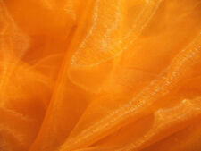 A08 (Per Meter) Orange Crystal Mirror Organza Darpping Sheer Fabric Material