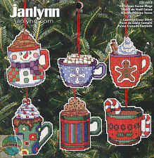 JANLYNN COUNTED CROSS STITCH CHRISTMAS COCOA MUGS ORNAMENTS KIT 6 DESIGNS