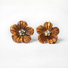 Handcrafted Tiger's Eye Flower Sterling Silver Earrings Double Ring Great Gift
