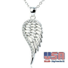 925 Sterling Silver Guardian Angel Wing Cubic Zircon Pendant Necklace Gift box