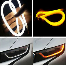 "2x 12"" White Amber LED Strip Lights Tube Headlight DRL Drive Signal Switchback"