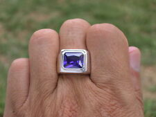 11x9 mm 925 Sterling Silver February Amethyst Stone Solitaire Men Ring Size 7