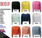 NEW WOMENS LADIES CROP TOP LONG SLEEVE WAFFLE JUMPER SIZES 8-14 BRIGHT CHUNKY