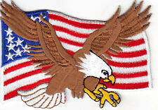 USA FLAG W/ EAGLE - AMERICAN FLAG - BIRD OF PREY - Iron On Embroidered Patch