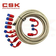 AN8 -8AN Stainless Steel Braided OIL/FUEL Line + Fitting Hose End Adaptor KIT SI