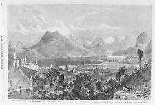 OLD ANTIQUE PRINT SWITZERLAND LAKE LUCERNE QUEENS VIEW c1869 ENGRAVING