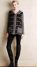 Anthropologie MOTH Derry Cable Knit Plaid Jacket Sweater Hooded Wool Coat Top S