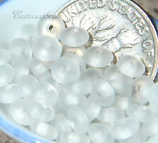 Round Flat Spacer Discs, 4mm Crystal White  w/ Sea Glass Finish~ 50 Pieces