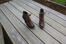 River Island Shoes Hi Heels Boot Style Brown Leather Size UK 6 rrp £70