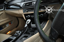 FITS ROVER 75 MG ZT PERFORATED LEATHER STEERING WHEEL COVER GREEN DOUBLE STITCH