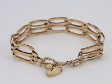 Gate Bracelet 9ct Gold Heart Locket Clasp Ladies Vintage 1981 375 W48