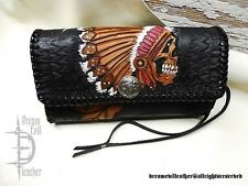 custom leather hand pouch unisex biker truker tooled skull chopper toolbag USA