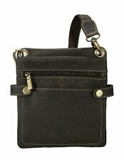 Visconti 18511 Distressed Oil Brown Leather Small Size Messenger Bag Cross-Body