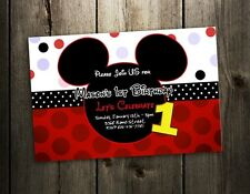 MICKEY MOUSE BIRTHDAY PARTY INVITATION 1ST CUSTOM FIRST INVITES F3- 9 DESIGNS !