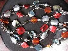 FUNKY colorful chunky glazed stone rope chain necklace choker clasp closure