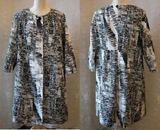 Size 27 Marina Rinaldi Print Long Coat Jacket Black White Made In Italy $1070.00