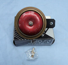 NIKKO 12V. 100MM  MOTORCYCLE HORN. COLOUR RED, GOLD & BLACK MADE IN JAPAN