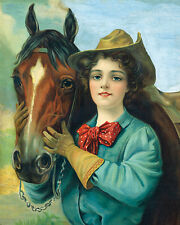 COWGIRL WITH HER HORSE VINTAGE  POSTER