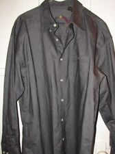 Harvie And Crosbie Oxford Grey/Black Button Down Long sleeve shirt Size Large