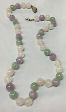 Vintage Chinese Natural Stone Amethyst Jade ? Rose Quartz Bead Necklace