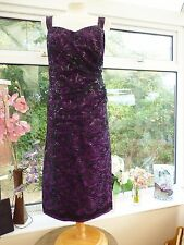 STUNNING!! *CONDICCI* PURPLE & BLACK EMBROIDERED LACE & SEQUINS DRESS MOB Sz 18