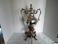 Vintage Victorian Silverplate Hot Water Coffee Urn w/ Burner- Signed