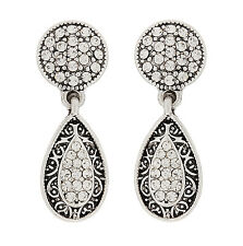 CLIP ON EARRINGS - silver plated drop earring with clear crystals - Abigail