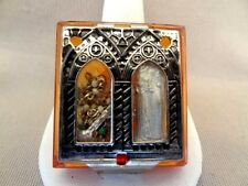 Vintage Glass & Silvertone Rosary Case With Miniature ROSARY & ICON