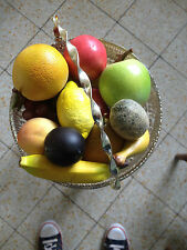 Old glass cut fruitbowl with lifelike fruit