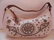Fossil~NEW Beige Shimmer Canvas & Brown Leather w Studs & Sequins Hobo Handbag