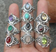 10X 925 Solid Silver Balinese Style Poison Locket Ring & Assorted Stone