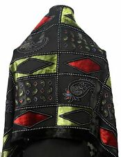 Elegant 100% Silk Burnout Velvet Diamond Art Oblong Scarf Wrap, Black/Olive/Red