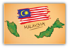 Malaysia Map Flag Sketch Car Bumper Sticker Decal 5'' x 3''