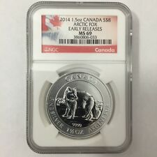 2014 Canada Canadian $8 Arctic Fox NGC MS 69 Early Releases 1.5 Oz Pure Silver
