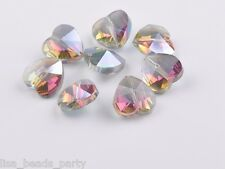 10pcs 14x9mm Faceted Heart Crystal Glass Charms Loose Spacer Beads Rose  Green