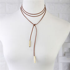 Gothic Faux Suede Cord String Wrap Choker Bolo Tie Necklace GOLDEN Tube