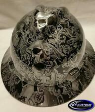 New Custom MSA V-Gard (Full Brim) Hard Hat W/FasTrac Silver Skulls and Roses