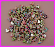 100pcs 17mm cailco fabric wrapped heart buttons flat back,flower fabric covered