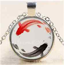 Cute Ying and Yang Fish Cabochon Glass Tibet Silver Chain Pendant Necklace#7H