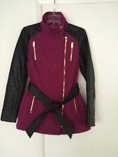BLACK RIVET  LADIES BELTED SOFT SHELL FAUX  LEATHER CYCLE JACKET   SIZE S  NWOT