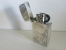 Vintage Made in ITALY Sterling Silver Slim Zippo Lighter