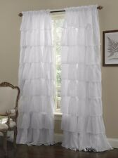 "1-pc White Shabby Crushed Voile Sheer Chic Ruffle Curtain Panel 60"" x 84"""