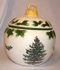 Spode Christmas Tree China Bauble Cookie Jar With Lid Christmas Ornament