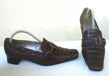 MOCASSINS A BOUCLES PETER KAISER CUIR MARRON FACON CROCODILE - T 38,5 / 39 - TBE
