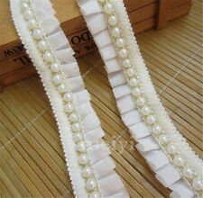 1yd White Vintage Cotton Pearl Beaded Lace Chiffon Trim Wedding Sewing Craft DIY